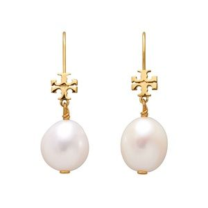Tory Burch Earrings Gold White Pearl Drop New